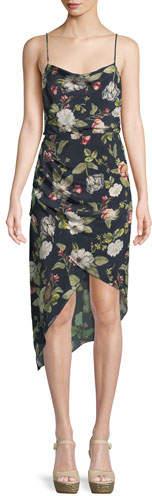 Alice + Olivia Reena Draped Floral Open-Back Dress