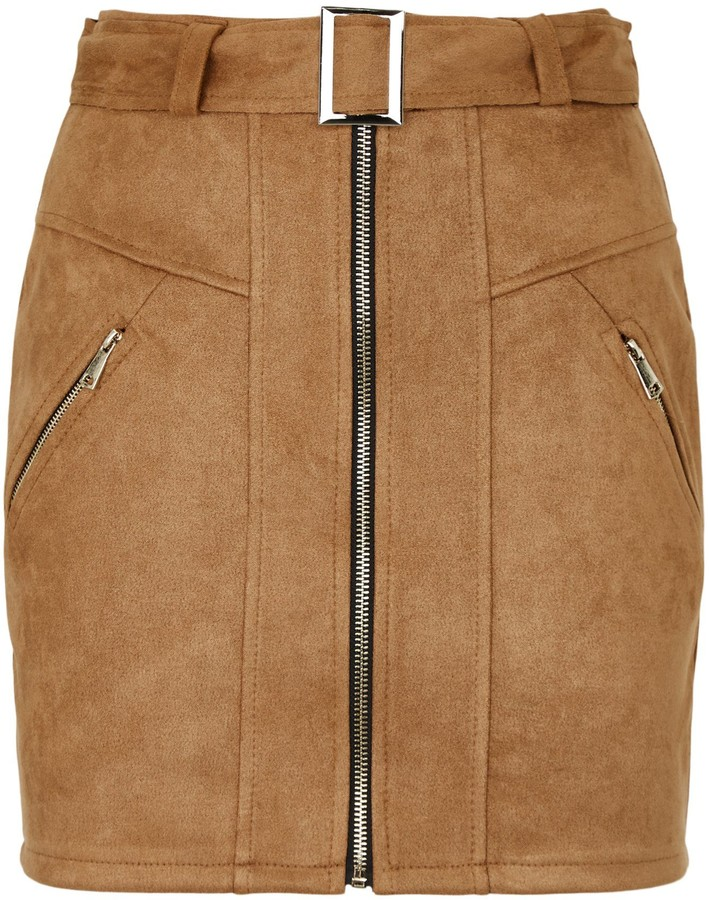 Thumbnail for your product : New Look Urban Bliss Suedette Belted Mini Skirt