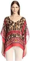 Theodora & Callum Women's Cheetah Paisley Scarf Top