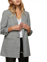 Miss Selfridge Ruched Sleeve Check Blazer, Black