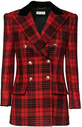 Saint Laurent Check Wool Double Breast Jacket