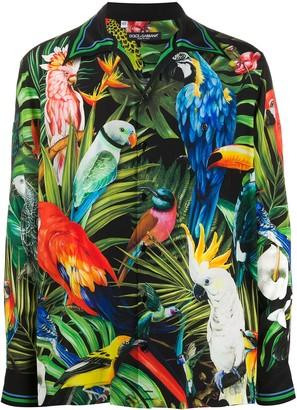 Dolce & Gabbana parrot print Hawaii shirt