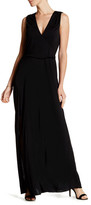 Haute Hippie Surplice Neck Split Leg Maxi Dress