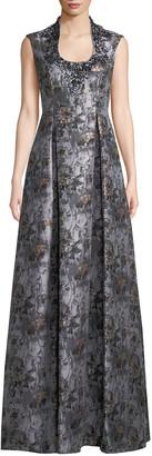 Aidan Mattox Jacquard Ball Gown w/ Embellished Collar