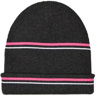 Alexander Wang Striped Wool Beanie Hat Charcoal/ Pink