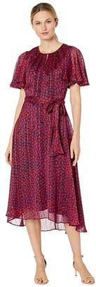 Tahari ASL Flutter Sleeve Printed Dot High-Low Hem Dress with Metallic Threadwork (Navy Pink Dot) Women's Dress