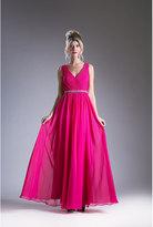 Unique Vintage Fuchsia Pink Sleeveless V-Neck Chiffon Long Dress