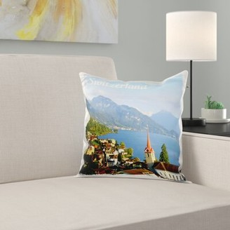 East Urban Home Switzerland Tourist Travel Souvenir Swiss Landscape Photo of Pretty Lake Town Weggis Near Lucerne Pillow Cover