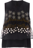 Suno Peplum Top with Embellished Overlay