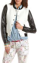 Charlotte Russe PU Sleeve Boucle Varsity Jacket