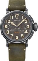 Zenith 112430406921C773 Pilot round green leather strap watch