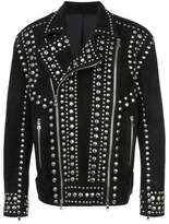 Balmain Studded Suede Biker Jacket - Black - Size IT58