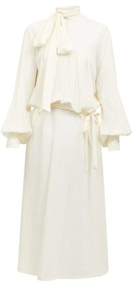 Ann Demeulemeester Tie-neck Balloon-sleeve Voile Midi Dress - White