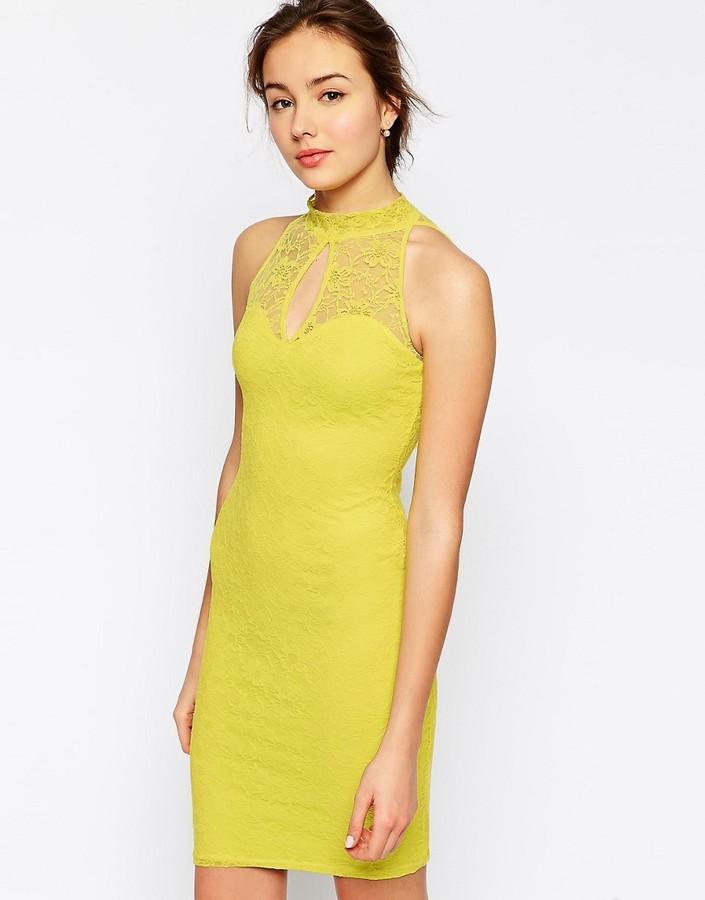 Jessica Wright High Neck Lace Dress-Yellow