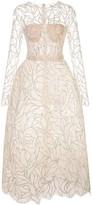 Oscar de la Renta sequin embroidered sheer dress