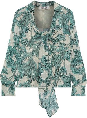 Diane von Furstenberg Alastor Metallic Floral-print Fil Coupe Gauze Blouse