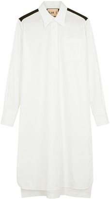Plan C White cotton-blend shirt dress