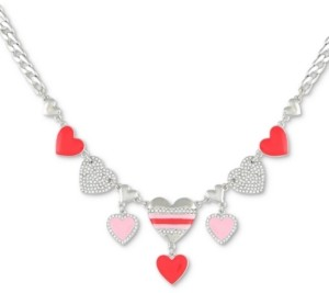"""GUESS Silver-Tone Pink Heart Crystal Charm Frontal Necklace, 16"""" + 2"""" extender"""
