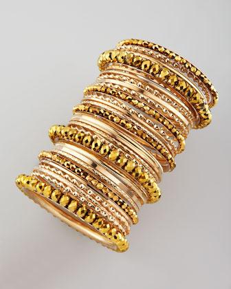 Cara Accessories 24-Piece Bangle Set, Golden