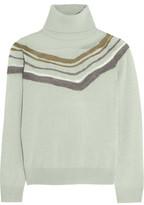 Raoul Felt-Paneled Stretch-Knit Turtleneck Sweater