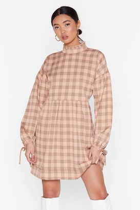Nasty Gal Womens Ruffle High Neck Mini Dress with Check Print - Blush
