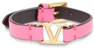 Valentino V-logo Leather Bracelet - Womens - Pink