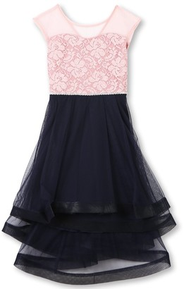 Speechless Girls' Big 7-16 Cap Sleeve High Low Party Dress with Wide Ribon Hem
