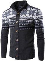Mada Men's Jacquard Button Cardigan Slim Casual Sweaters US L