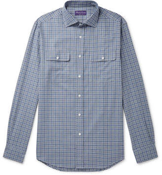 Ralph Lauren Purple Label Cutaway-Collar Checked Brushed Herringbone Cotton Shirt