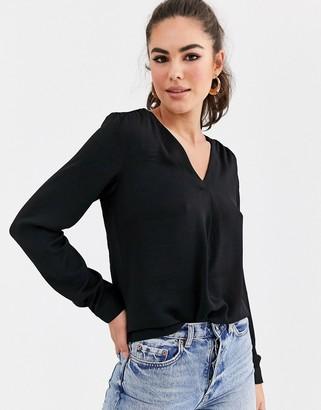 Vila wrap detail blouse in black