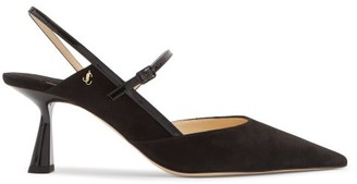 Jimmy Choo Ray 65 Suede Slingback Pumps - Black