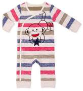 Baby Starters Striped Snap-Up Sock Monkey Coverall