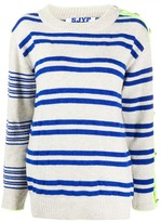 Sjyp button-sleeve striped pullover jumper