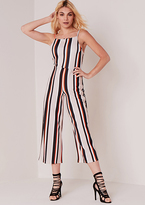 Missy Empire Lucy Beige Striped Strappy Jumpsuit