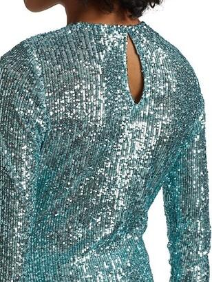 Naeem Khan Crewneck Sequin Long-Sleeve Top