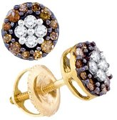 GND 10kt Yellow Gold Womens Round Cognac- Colored Diamond Cluster Earrings 1/3 Cttw