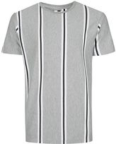 Topman Gray Vertical Stripe Slim Fit T-Shirt