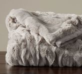 Pottery Barn Ruched Faux Fur Oversized Throw - Gray