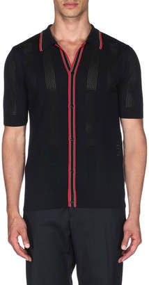 Fendi Men's Contrast Stripe Knit Polo Shirt