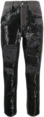 Frame Sequinned Ripped Jeans