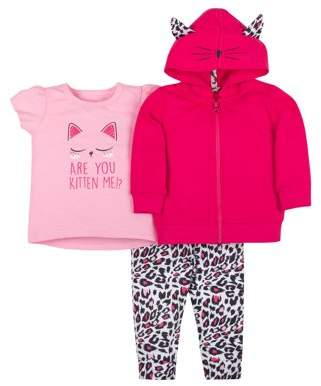 Little Star Organic Baby Toddler Girl Hoodie, T-shirt & Leggings, 3pc Outfit Set