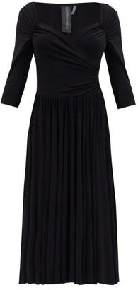 Norma Kamali Sweetheart-neck Flared Jersey Midi Dress - Black