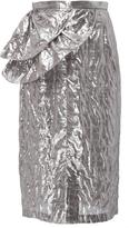Tome Silk Lam Ruffle Pencil Skirt