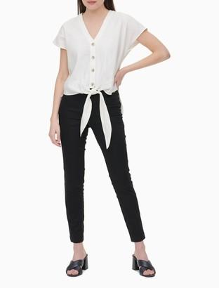 Calvin Klein Linen Blend Button-Down Tie-Front Shirt