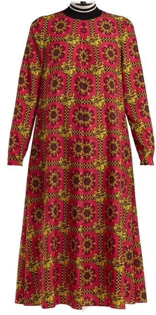 RED Valentino Graphic Floral Print Chiffon Maxi Dress - Womens - Red Multi