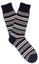 Oliver Spencer Loungewear - Hinton Striped Cotton-blend Socks - Navy