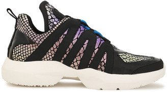 DKNY Lynzie Leather-trimmed Iridescent Snake-effect Suede Sneakers