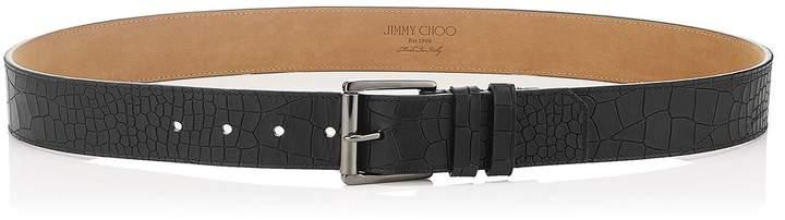 Jimmy Choo ARCHER Black Croc Printed Nubuck Belt