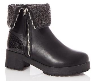 Dorothy Perkins Womens Quiz Black Fold Over Calf Boots, Black