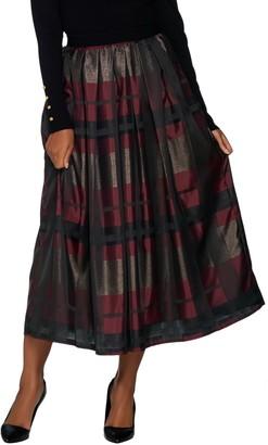 Joan Rivers Classics Collection Joan Rivers Regular Glamorous Plaid Midi Skirt